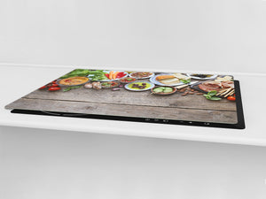 BIG KITCHEN BOARD & Induction Cooktop Cover – Glass Pastry Board - Food series DD16 Breakfast 3