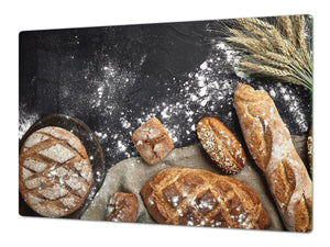 HUGE TEMPERED GLASS CHOPPING BOARD – Bread and flour series DD09 Fresh bread 10