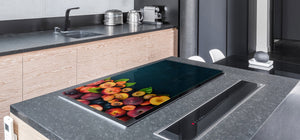 UNIQUE Tempered GLASS Kitchen Board Fruit and Vegetables series DD02 Nectarines and plums
