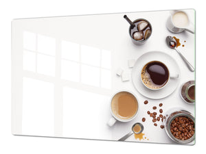 Worktop saver and Pastry Board – Glass Kitchen Board- Coffee series DD07 Coffee 7