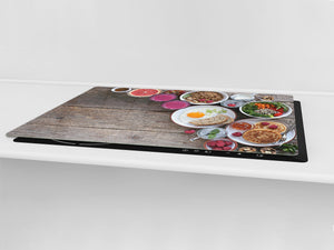 BIG KITCHEN BOARD & Induction Cooktop Cover – Glass Pastry Board - Food series DD16 Colorful breakfast