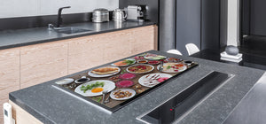 BIG KITCHEN BOARD & Induction Cooktop Cover – Glass Pastry Board - Food series DD16 Breakfast 8