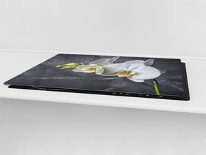 Induction Cooktop Cover – Glass Cutting Board- Flower series DD06B White orchid 2