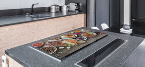 BIG KITCHEN BOARD & Induction Cooktop Cover – Glass Pastry Board - Food series DD16 Breakfast 6
