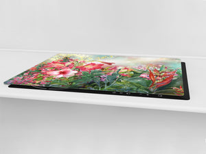 Induction Cooktop Cover – Glass Cutting Board- Flower series DD06B Flowers 7