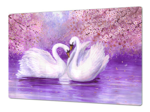Gigantic Worktop saver and Pastry Board - Tempered GLASS Cutting Board Animals series DD01 Swans