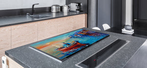 GIGANTIC CUTTING BOARD and Cooktop Cover- Image Series DD05A Fishing boat