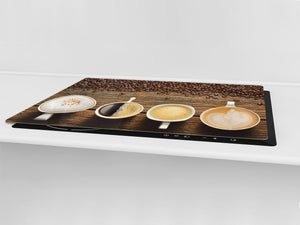 Worktop saver and Pastry Board – Glass Kitchen Board- Coffee series DD07 Types of coffee 2