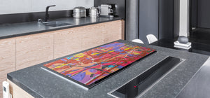 Impact & Scratch Resistant Glass Cutting Board and worktop saver; Texture Series DD20 Colorful spots 2