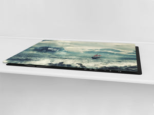 GIGANTIC CUTTING BOARD and Cooktop Cover- Image Series DD05A Sea storm
