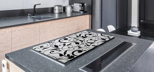 Induction Cooktop Cover – Glass Cutting Board- Flower series DD06B Floral pattern 2