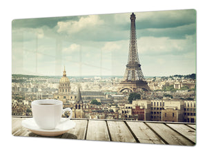 Tempered GLASS Chopping Board – Enormous Induction Cooktop Cover - City Series DD12 Coffee in paris