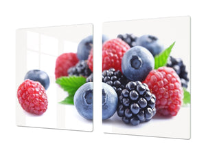 UNIQUE Tempered GLASS Kitchen Board Fruit and Vegetables series DD02 Forest fruits