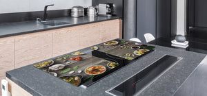 BIG KITCHEN BOARD & Induction Cooktop Cover – Glass Pastry Board - Food series DD16 Healthy eating