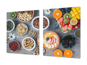 BIG KITCHEN BOARD & Induction Cooktop Cover – Glass Pastry Board - Food series DD16 Healthy porridge