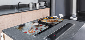 BIG KITCHEN BOARD & Induction Cooktop Cover – Glass Pastry Board - Food series DD16 Breakfast 1