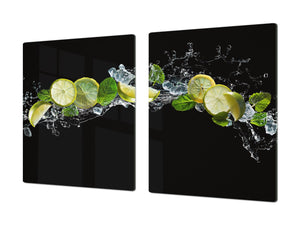 UNIQUE Tempered GLASS Kitchen Board Fruit and Vegetables series DD02 Lemon with mint