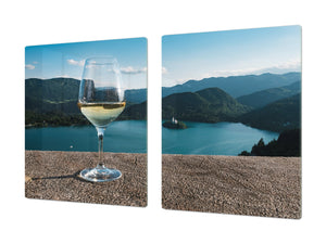 BIG KITCHEN PROTECTION BOARD or Induction Cooktop Cover - Wine Series DD04 A glass of wine 1