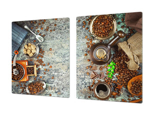 Worktop saver and Pastry Board – Glass Kitchen Board- Coffee series DD07 Coffee 4