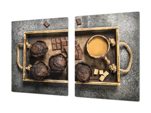 Tempered GLASS Cutting Board - Glass Kitchen Board; Cakes and Sweets Serie DD13 Muffins 1
