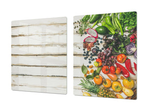 UNIQUE Tempered GLASS Kitchen Board Fruit and Vegetables series DD02 Vegetables on boards