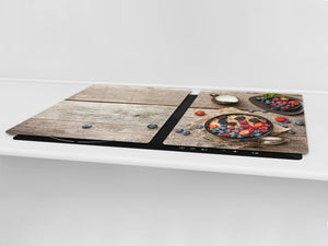 BIG KITCHEN BOARD & Induction Cooktop Cover – Glass Pastry Board - Food series DD16 Porridge
