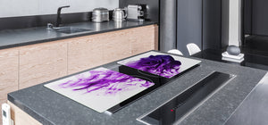 Induction Cooktop Cover – Glass Cutting Board- Flower series DD06B Purple rose