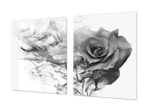 Induction Cooktop Cover – Glass Cutting Board- Flower series DD06B Gray rose