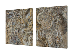 Impact & Scratch Resistant Glass Cutting Board and worktop saver; Texture Series DD20 Stones