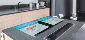 Gigantic Worktop saver and Pastry Board - Tempered GLASS Cutting Board Animals series DD01 Flamingos