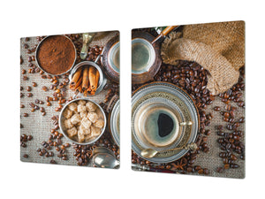 Worktop saver and Pastry Board – Glass Kitchen Board- Coffee series DD07 Coffee 9