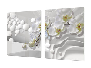 Induction Cooktop Cover – Glass Cutting Board- Flower series DD06B White orchid 1