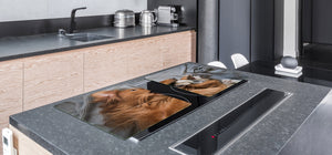 Gigantic Worktop saver and Pastry Board - Tempered GLASS Cutting Board Animals series DD01 Dog with a cat