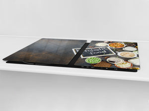 BIG KITCHEN BOARD & Induction Cooktop Cover – Glass Pastry Board - Food series DD16 Healthy food 2