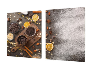 Tempered GLASS Cutting Board - Glass Kitchen Board; Cakes and Sweets Serie DD13 Sweets 4