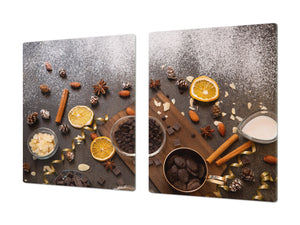 Tempered GLASS Cutting Board - Glass Kitchen Board; Cakes and Sweets Serie DD13 Sweets 2