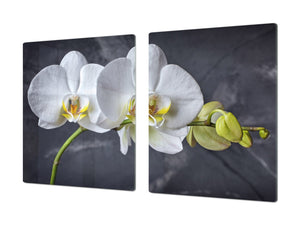 Induction Cooktop Cover – Glass Cutting Board- Flower series DD06B White orchid 3