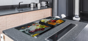 UNIQUE Tempered GLASS Kitchen Board Fruit and Vegetables series DD02 Fruit in water