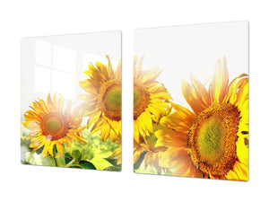 ENORMOUS  Tempered GLASS Chopping Board - Flower series DD06A Sunflower 1