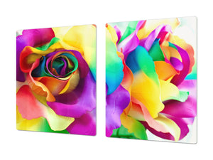 ENORMOUS  Tempered GLASS Chopping Board - Flower series DD06A Colorful rose