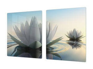 ENORMOUS  Tempered GLASS Chopping Board - Flower series DD06A Lotus flower 1