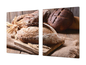 HUGE TEMPERED GLASS CHOPPING BOARD – Bread and flour series DD09 Fresh bread 2