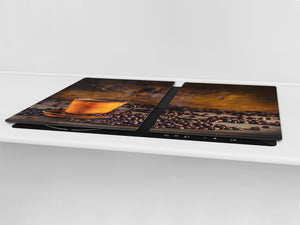 Worktop saver and Pastry Board – Glass Kitchen Board- Coffee series DD07 Coffee 1