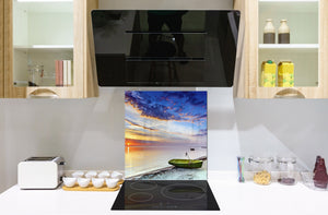 Glass kitchen backsplash – Photo backsplash BS20 Seawater Series: Pier Boat West