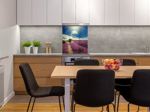 Tempered glass Cooker backsplash BS16 Waterfall landscapes Series: Heathers Violet Tree 2