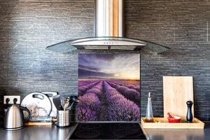 Tempered glass Cooker backsplash BS16 Waterfall landscapes Series: Heathers Violet Tree 4