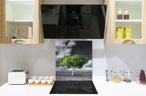 Glass Upstand – Sink backsplash BS25 Cities Series: Gray Tree