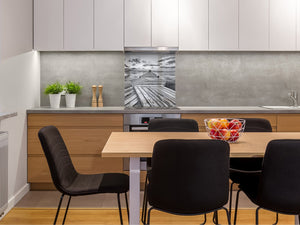 Tempered glass kitchen wall panel BS24 Bridges Series: Gray Pier Footbridge