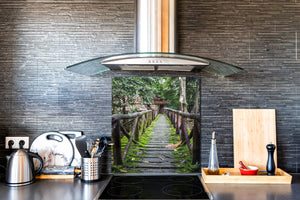 Tempered glass kitchen wall panel BS24 Bridges Series: Nature Forest Bridge