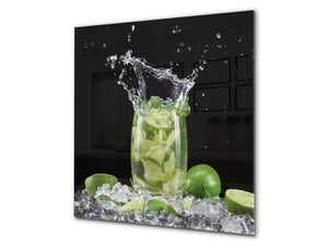 Glass kitchen splashback – Glass upstand BS09 Water splash Series: Lime Mojito Drink